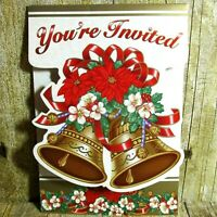 Classic Bell Christmas Party Invitations Holiday Party 8 Cards w Envelopes New