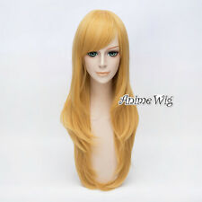 Gelb Blond Cosplay Kostüm Perücke Japan Hote Characters Haar 70cm Halloween +Cap