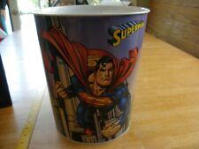 Superman waste paper can trash Tin Box company 1990s unused NWT 10