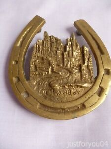 Vintage Large Solid Brass Cheddar Gorge in a Lucky Shoe Table /Beer Mat Coaster