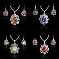 Women's Vintage Cz Cubic Zirconia Crystal Necklace Earrings Wedding Jewelry Set