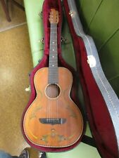 1928 Stromberg Voisinet  Stencil Parlor Guitar Pre Kay Playable  W/ Hard Case