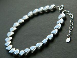 Beautiful Hematite Heart Gemstones & Solid 925 Sterling Silver Handmade Bracelet
