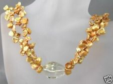 Gold keshi freshwater pearl 2 strand necklace sterling silver clasp