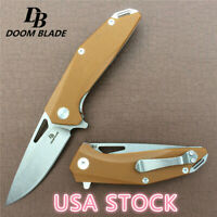 "7.9""Knives G10 Handle D2 Blade Ceramic Ball Bearing Outdoor Camping Knife Huntin"