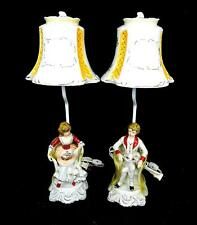 """ANTIQUE COLONIAL SEATED BOY & GIRL 2 PC WORKING 20 1/2"""" LAMPS & PORCELAIN SHADES"""