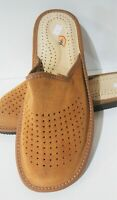 MENS LIGHT BROWN NATURAL LEATHER SUEDE ORTHOPEDIC SLIPPERS MULES SLIP ON 9-13
