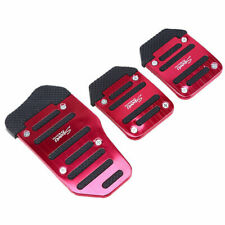 3pcs Red Univeral Sports Car Pedal Brake Cover Footrest Foot Pedals Gas Pads