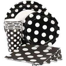 Black with Polka Dot Plates Napkins Cups Mickey Birthday Decoration Party Supply