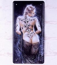 Retro Metal Tin Sign Sexy Girl With Tattoo Bar Pub Home Wall Art Plaque Poster