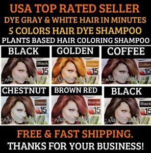 5 SACHETS BLACK- BROWN- RED- HAIR DYE SHAMPOO- EASY COLORING- USA SELLER