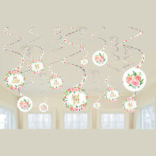 BABY SHOWER Sweet Floral HANGING SWIRL DECORATIONS (12) ~ Party Supplies Pink