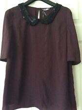 NEW WOMEN'S M&S WINE BURGUNDY TOP BLOUSE LUXURY FABRIC SEQUINS BEADS UK SIZE 20