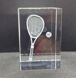 3D Laser Etched Crystal Tennis Paperweight - Gift -Trophy NEW