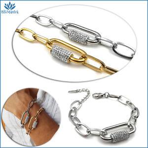 Bracciale da donna a maglia moschettone catena con zirconi acciaio braccialetto
