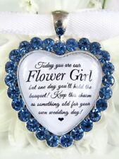 Flower Girl Bouquet Charm Cornflower Blue Diamantés Wedding Gift Accessories