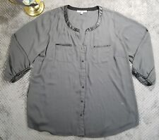 Daniel Rainn Gray Sheer Blouse Chiffon Style Top Tunic Button Up Shirt Sz 2X