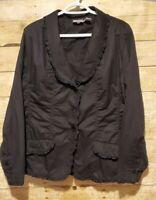 NWOT CHICO'S Silk Ruffle Jacket Blazer Long Sleeve Stretch Black Sz 3  Rouched