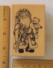 "PSX Rubber Stamp Wood Mounted CHRISTMAS SANTA CLAUS w/ BEAR G-759 2¼"" x 3½"" NEW"
