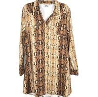 Cowgirl Justice Shirt Dress Animal Print Snake NWOT Western Long Sleeve Snap XXL