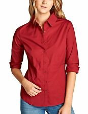 KOGMO Women's Classic Solid 3/4 Sleeve Button Down Blouse Dress Shirt S-3X