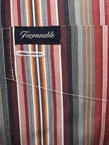 FACONNABLE BUTTON FRONT DRESS SHIRT Sz Mens M Multicolor Striped Long Sleeve