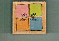 Who What Where When Words Square Wood Mounted Rubber Stamp Kolette Hall Studio G