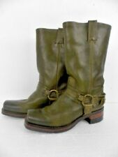 Frye Ladies Harness Style Rugged Pebbled Leather Boots Green SZ 9M Made in USA