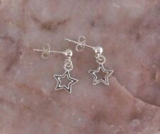 Dainty Silver Star, 925 Sterling Silver Hanging Stud Earrings.Handmade.