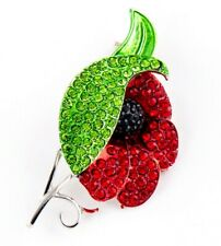 Enamel Badges 2019 Uk Flower Broach Poppy Brooch Pin Large Red Crystal Diamante