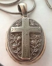 Beautiful Victorian Silver Locket With Cross & Roses Design On A Quality Chain