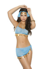 Harem Hottie Lingerie Costume Set Bra Top Skirt Head Piece G-String Blue 8668