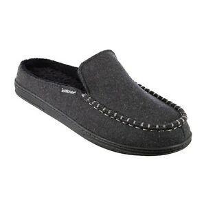 Isotoner Signature  Grady Hood-Back Moccasins Slippers gray large 9.5 10.5 a17