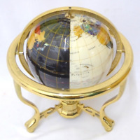 "15"" Tall Large Semi-Precious Stone World Globe on lacquered Stand with Compass"