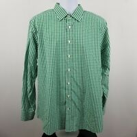 Charles Tyrwhitt Poplin Weave Slim Fit Green Check Men's L/S Button Shirt Sz XL