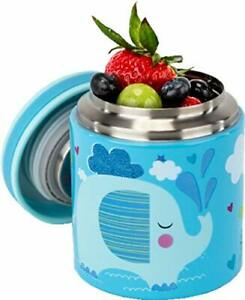 Blue Ele Vacuum Insulated Jar & Thermos for Kids BPA-Free Lunch Containers Dou