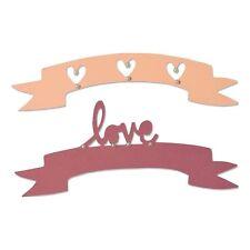 NEW Sizzix Thinlits 660826 Love & Wishes #2 heart banner metal cutting dies x2