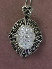 SU STERLING SILVER MARCASITE & MOLDED GLASS PENDANT ENHANCER & CHAIN NECKLACE