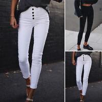 Mode Femme Pantalon Slim Crayon Simple Confor Petits pieds  Bouton Long Plus
