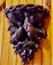 ANTIQUE HAND CARVED BLACK FOREST HUNTING THEME SHELF