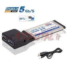 EXPRESS CARD USB 3.0 PORTE SCHEDA SCHEDA NOTEBOOK 5 Gbps ALTA VELOCITA PCMCIA 3