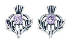 Sterling Silver Thistle Stud Earrings with a June Birthstone Centre
