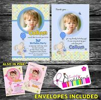 Personalised Boys First Birthday Invitations OR 1st Birthday Thank You card x 5