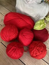 Huge Lot of Red Mixed Yarn Acrylic Soft New Jiffy Laine Rouge Balls Vanna White