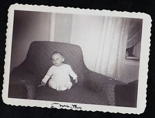Vintage Antique Photograph Cute Little Baby Sitting in Living Room Chair