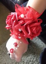 Wedding flowers bridesmaids wrist corsage red roses,diamante,pearls