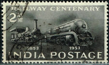 India Railroad 100 Ann Train Locomotives old and modern stamp 1953