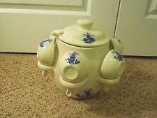 Vintage Ceramic Stoneware Dutch Windmill Hot Soup or Punch Server 6 Crocks Mugs