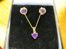 Vintage 14k Yellow Gold Heart Shaped Amethyst & Diamonds Necklace Earrings Set
