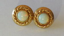 Colourful, attractive 60's natural opal 9ct gold earrings, sz 1.2cm round, 2.37g